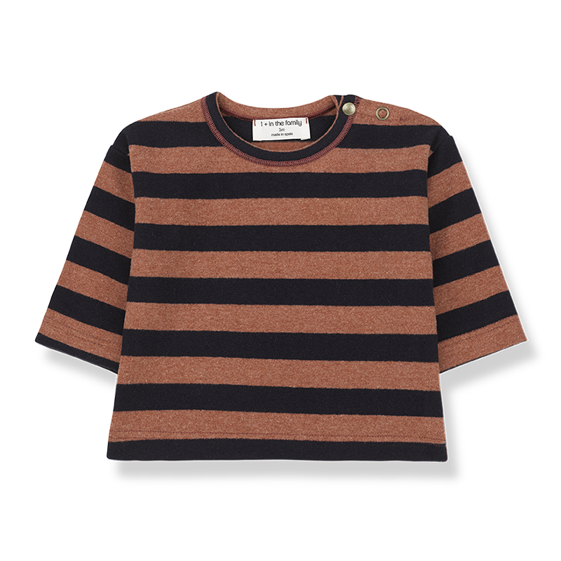 Baby T-shirt 1 + in the family Vienna striped caldera/blue: Detail1