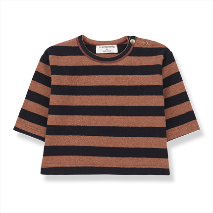 Baby T-shirt 1 + in the family Vienna striped caldera/blue